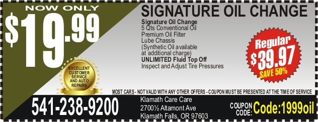 Oil change coupon in Klamath Falls, OR - Get your next oil change for only $19.99 in Klamath Falls, OR - serving car owners in Klamath Falls, Keno, Chiloquin and Merrill OR and surrounding areas. Call 541-238-9200